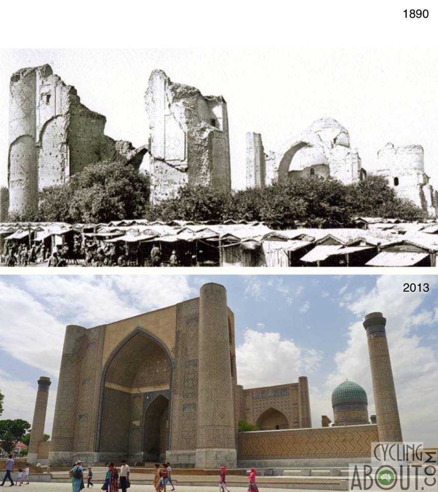 Samarkand in ruins 1890 and 2013