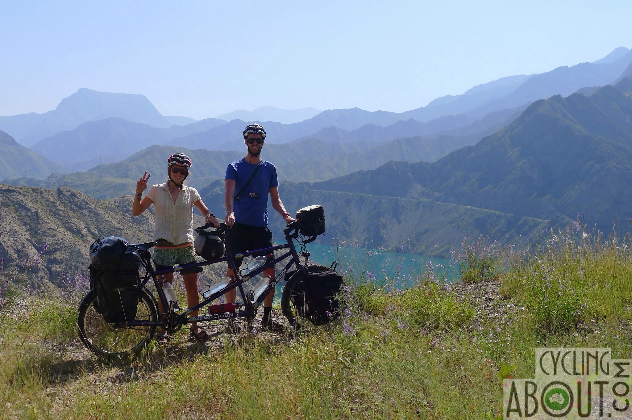 Bicycle touring tandem in Kyrgyzstan