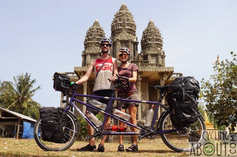 Tandem bicycle touring temple