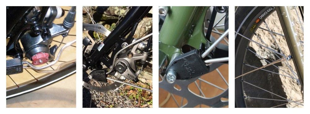 Bending the struts around the disc caliper, using a fender spacer, mounting to the front rack eyelet